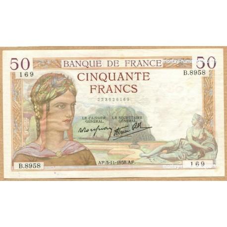 50 Francs Cérès 3-11-1938 B.8958