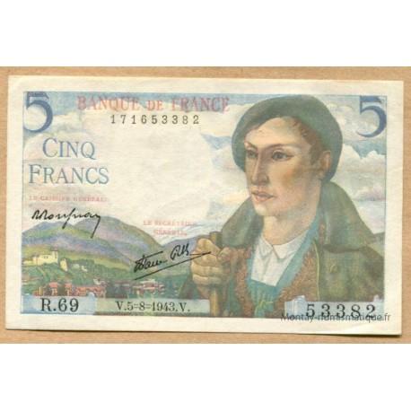 5 Francs Berger 5-8-1943 R.69