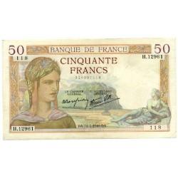 50 Francs Cérès 14-3-1940 H.12961