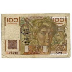 100 Francs Paysan 2-10-1952 Filigrane inversé F.501