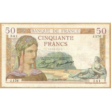 50 Francs Cérès 27-12-1934