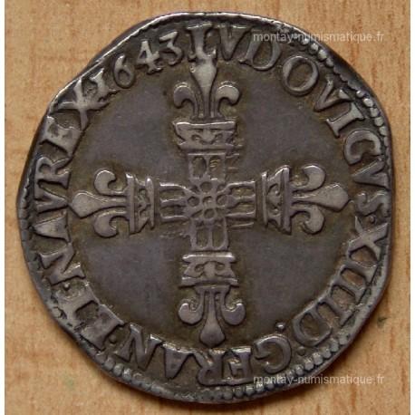 Louis XIII, 1/4 écu frappé au marteau 1643 K Bordeaux