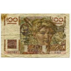 100 Francs Paysan 2-10-1952 Filigrane inversé S 501