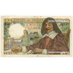 100 Francs Descartes 7-1-1943 L.55