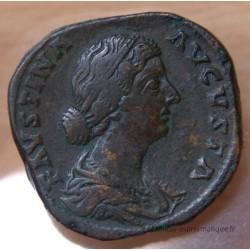 Faustine Jeune Sesterce + 161 Rome HILARITAS