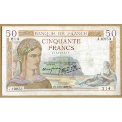 50 Francs Cérès 14-9-1939 J.10953