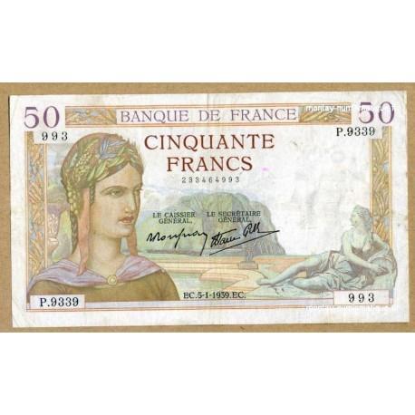 50 Francs Cérès 5-1-1939 P.9339