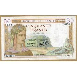50 Francs Cérès 28-4-1938 K.8158