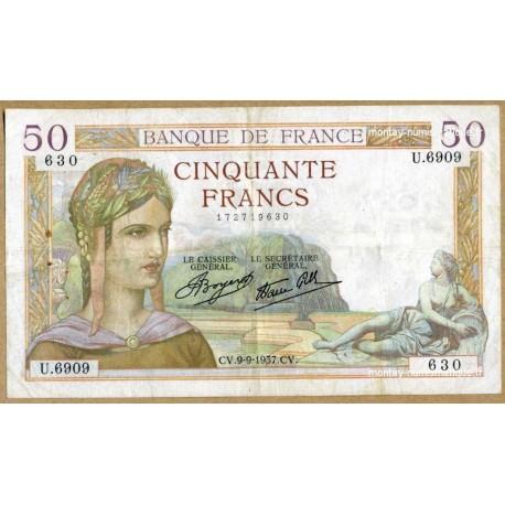 50 Francs Cérès 9-9-1937 U.6909