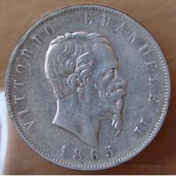 5 Lire Victor Emmanuel II 1865 T Turin