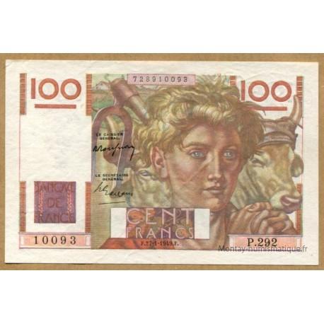 100 Francs Jeune Paysan 27-1-1949 P.292