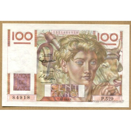 100 Francs Jeune Paysan 2-1-1953 P.529