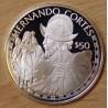 Îles Cook 50 dollars 1988 proof Elisabeth - Hernando Cortes
