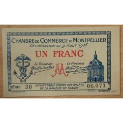 Montpellier (34) 1 Franc 9 Août 1915 Série 30