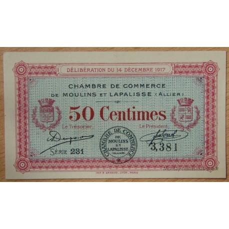 Moulins et Lapalisse (03) 50 centimes 14 décembre 1917 série 231