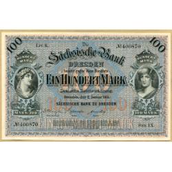 Allemagne - 100 Mark 02 janvier 1911 Dresden