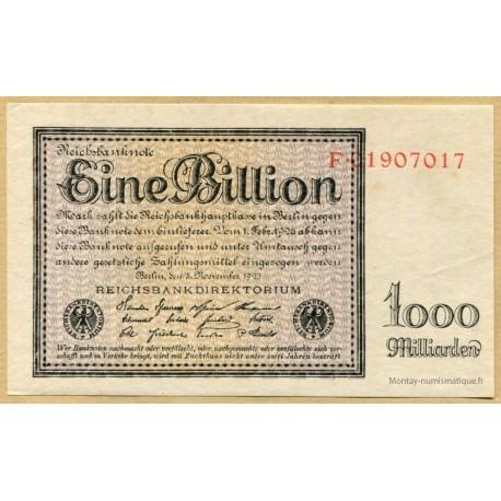 Allemagne - 1 billion de de Mark 5 novembre 1923 - Reichsbanknote