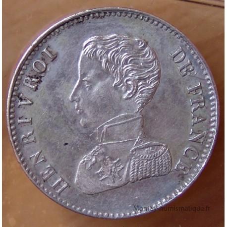 2 Francs Henri V 1833 argent var tranche lisse
