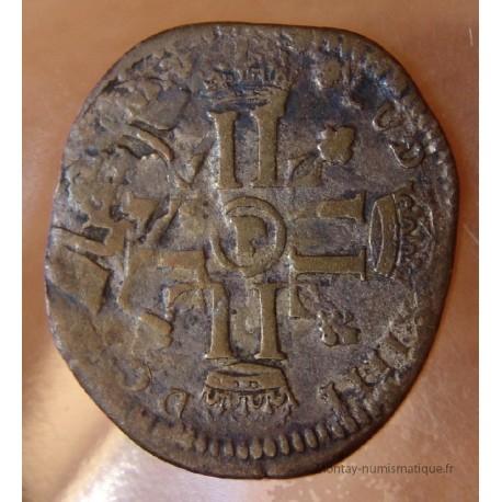 Louis XIV Quinzain 1699 P Dijon réformé sur ancien flan