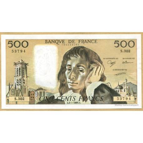 500 Francs Pascal 6-7-1989 S.302