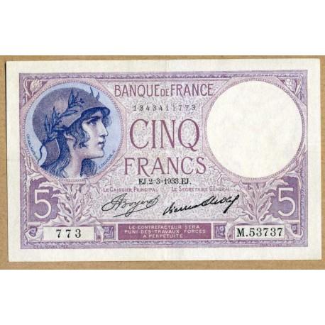 5 Francs Violet 2-3-1933 M.53735