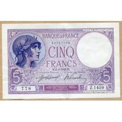 5 Francs Violet 2-4-1918 Z.1429