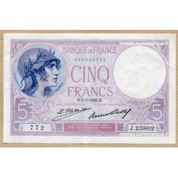 5 Francs Violet 1-7-1926 J.23802