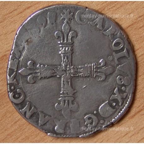 Charles X Quart Ecu croix de face 1597 T Nantes
